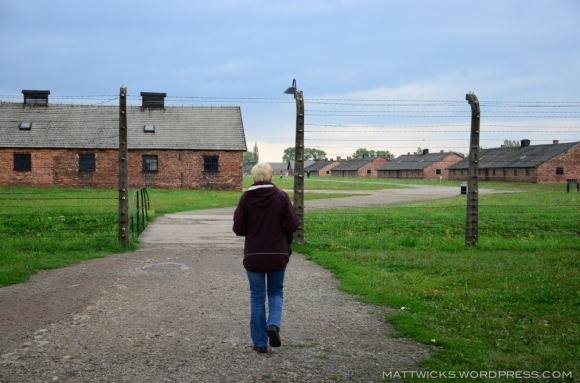 our guide leads us through Birkenau camp.