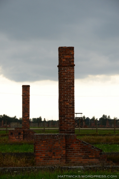brick chimneys from no-longer-standing buildings at Birkenau.