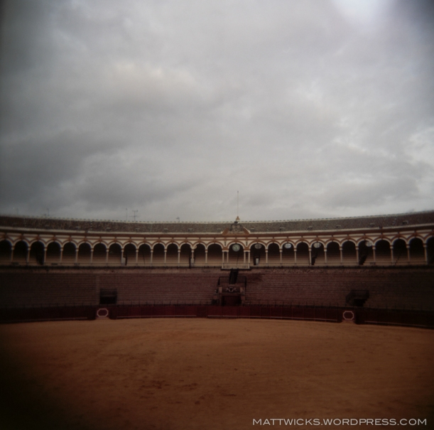 Sevilla's empty bull ring on Holga.