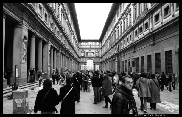 The Uffizi Gallery in Firenze, Italy is an AMAZING showcase of artwork, but the crowds can be unbelievably annoying/distracting. I visited in 2006 and recall more the feeling of irritation at the massive Japanese tour groups than enlightenment from Renaissance masters. Sigh.