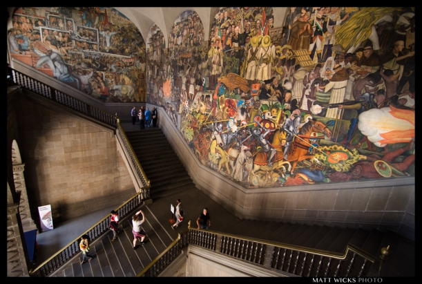 Diego Rivera mural depicting Mexican history from 1521 to 1930.