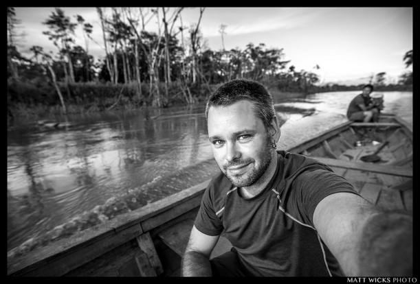 me, in an open boat on Rio Yarapa, in the Peruvian Amazon jungle.