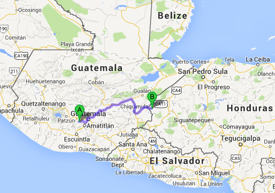 The likely road-route from Antigua to Copán Ruinas.  Approx 280 kilometers.