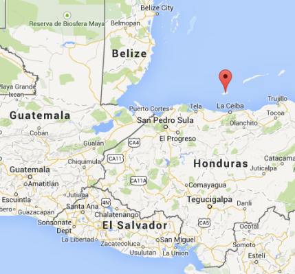 This is where Utila, Honduras is.  At the red thing.
