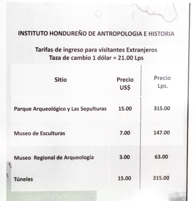 Current prices at Copán's Mayan ruins as of October 2014.