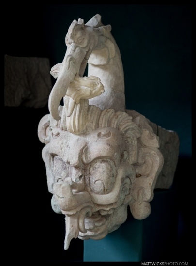 "The evil-looking ""water bird"" sculpture - the highest-relief piece found at Copán."