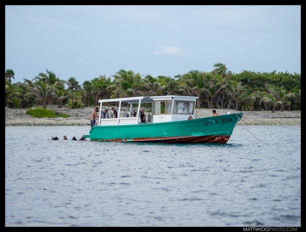 Divers resurface in Utila, Honduras.
