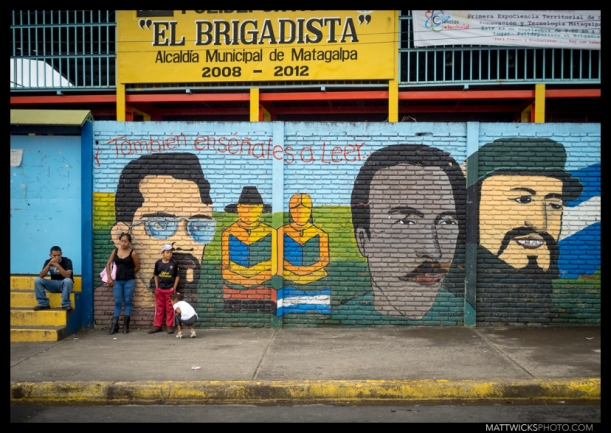 a mural of political heroes in Matagalpa.
